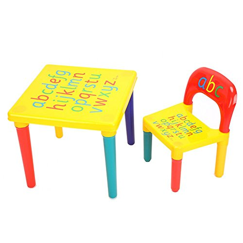 Kids Table Chair Set, Multifunctional Plastic Childrens Table and Chair Set Interesting English Alphabet Table Kids Toddler Playing Learning Study Desk Seats Best for Toddlers Lego Reading Play-Room