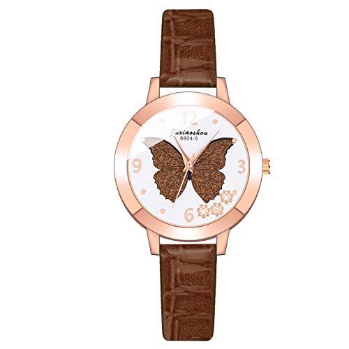 JZDH Relojes para Mujer Las Mujeres Miran al Cuarzo Mariposa patrón Reloj de Pulsera Banda de Cuero Strap spin Shall Damas Relojes Relojes Decorativos Casuales para Niñas Damas (Color : Coffee)