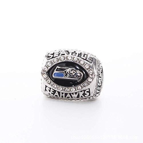 WANZIJING Super Bowl XL-Champion Ring, Seattle Seahawks 2005 NFC Champion Vintage-Rare Sammlerstück Replica Silber Fußball-Meisterschaft Ring-Größe 11,Without Box