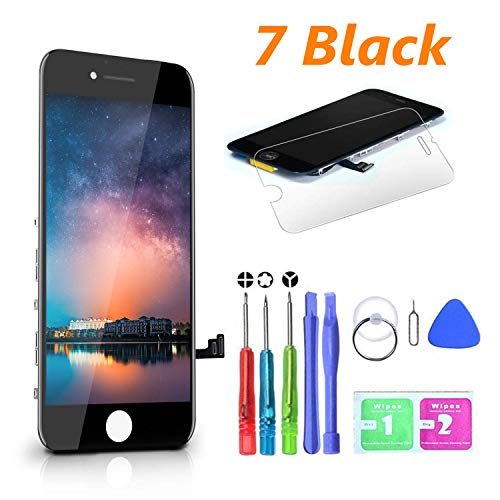 """HTECHY Compatible with iPhone 7 Screen Replacement Black(4.7"""") LCD Digitizer Touch Screen Assembly Set with 3D Touch Replacement for iPhone 7 Screen + Repair Tools Kit Screen Protector"""
