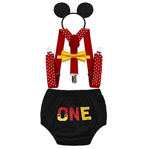 FMYFWY Neonato Bambino 1 ° Compleanno Outfits, Costume da Topolino Carnevale Halloween Festa Fotografia, One Pantaloncini + Bretelle + Papillon + Fascia per Topolino, Nero, 12-18 Mesi