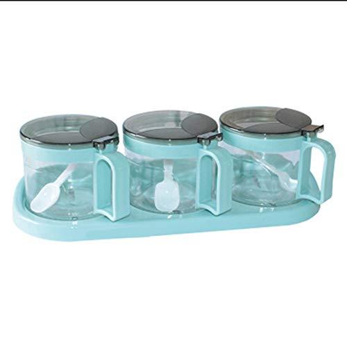 GTJXEY Vetro condimento Box Set, Non Slip Base Condimento Ampolla Bottiglia Spice Jar Kitchen Set 10 Ounce ciascuno (3 Bottiglie/Set),Blu