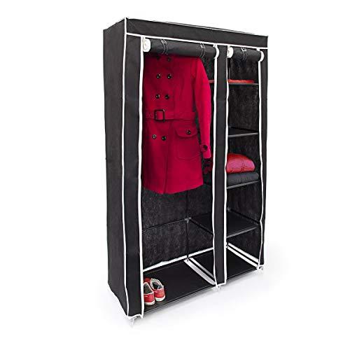 Relaxdays Faltschrank VALENTIN XL HxBxT: 174x107x42,5 cm Stoffschrank aus Vlies mit Reißverschluss zur staubfreien Lagerung faltbarer Kleiderschrank mit 5 Ebenen als Zelt-Schrank zum Camping, schwarz