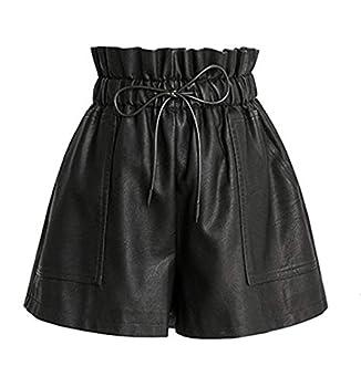 womens black leather shorts