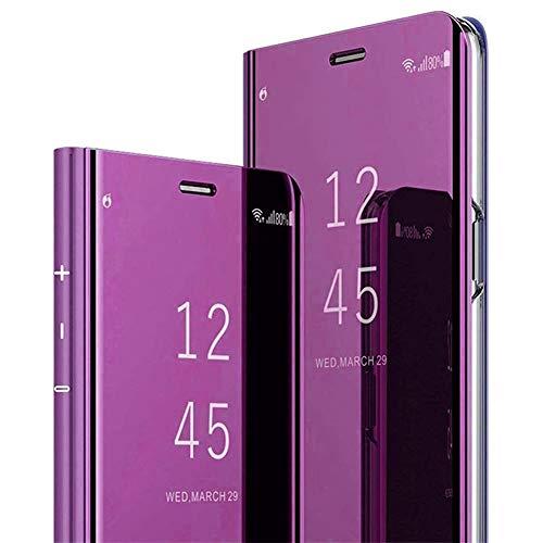 QPOLLY Miroir Coque Compatible avec iPhone 11, Portefeuille à Rabat Etui en Cuir + Dur PC Transparent Clear View Design Placage Folio Housse de Protection avec Fonction Stand,Violet*