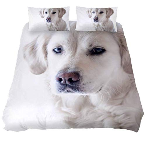 Duvet Cover Set White Dog Comforter Bedding Sets Soft 3 Piece Extra Long Twin Size with 2 Pillow Shams Hypoallergenic Soft and Comfortable Zipper