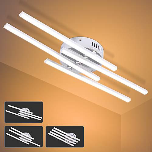 ALLOMN Luz de Techo LED, 28W Lámpara de Araña Lámpara de Techo de Diseño de Tira Paralela Moderna con 4PCS Luz de Tira Paralela para Sala de Estar Dormitorio Comedor (4 Luces Blanco Cálido)