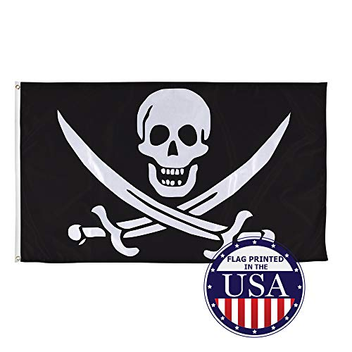 Vispronet Pirate Flags Jolly Roger Collection – Captain Calico Jack 1718-1720 Skull and Cutlasses Flag – 3ft x 5ft Knitted Polyester Flag – Made in The USA