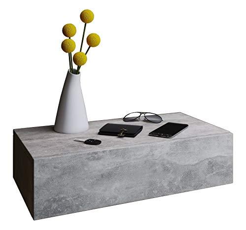 VCM Dormas Maxi wandnachtkastje, nachtkastje, bijzettafelcommode, houtdecor, beton-look, 15 x 60 x 31,5 cm