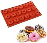 WENTS Stampi per Ciambella in Silicone 18 cavità Mini Donuts Dessert di Forma Rotonda Silicone Mold Chocolate Biscuit Cake Cupcake Stampi Ciambella Muffa (Rosso Mattone)