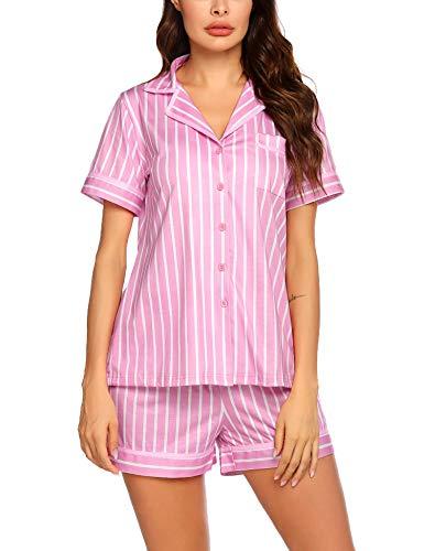 Ekouaer Pajamas Set Short Sleeve Soft Sleepwear Pjs Women Button Down Nightwear with Shorts (Pink Vertical Striped M)