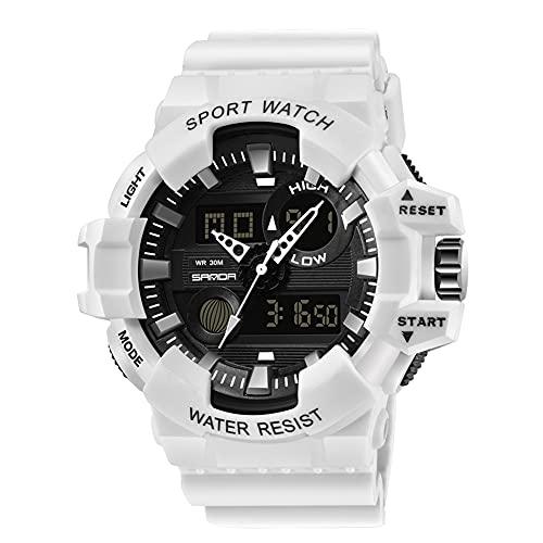 GJHBFUK Reloj Multifuncional Men Sport Watch Analógico Digital Pantalla Impermeable Reloj De Pulsera (Blanco)