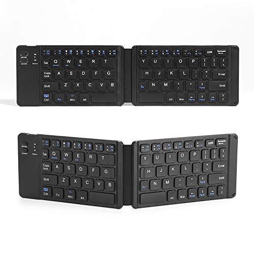 EULIQ Folding Bluetooth Keyboard, USB Rechargeable Battery Bluetooth Keyboard Mini Portable Pocket Size Bluetooth Keyboard Wireless Keyboard for Windows/IOS/Android Systems PC Tablets Phones (Black)