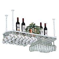 HLL キッチンガラスカップホルダーサスペンション収納棚錬鉄パーソナリティワイングラスラック逆さまゴブレットハンギングワインラック,C,80 * 35cm