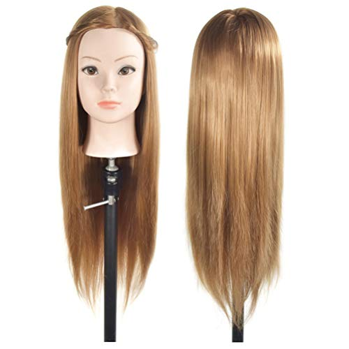 Cabeza de maniquí con pelo afro, pelo 28 % humano, para aprendizaje de cosmetología y peluquería, cabeza de muñeca, abrazadera incluida (66-71 cm)