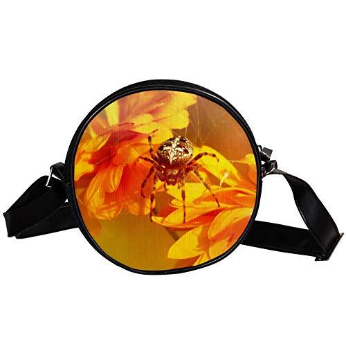 Yuzheng Spinnen-Chrysantheme Sun Golden Runde Umhängetasche Umhängetasche Lederband Mode Canvas Geldbörsen Handtaschen mit doppeltem Reißverschluss für Frauen , Kinder , Studentendurchmesser 17cm