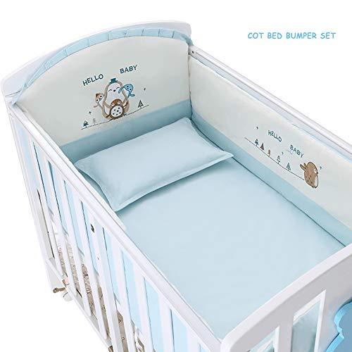 LYXCM Bettumrandung Babybett Set, Pinguin Haus Blau Kinderbett Babyballen Bettwäsche Set Kinderbett Quilt Stoßstange Und Spannbetttuch