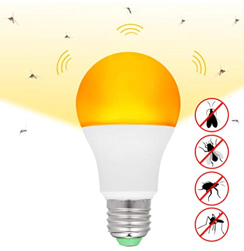 Yhhzw 2 Pcs Mosquito Killer Lamp Yellow Led Bug Light Bulb Auto On & Off Outdoor 7W E26/27 Mosquito Repellent Light Bulb Night Light Size 11×5.5×5.5Cm