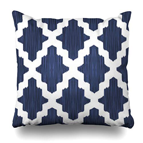 InnoDIY Throw Pillow Covers Design Navy Trellis Ethnic Moroccan Damask for Pattern Moorish Blue Ikat Carpet White Vintage Classic Pillowslip Square Size 18 x 18 Inches Cushion Cases Pillowcases