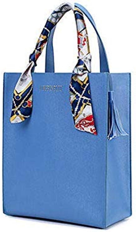 Bloomerang Tuladuo Scarves Women Handbag Leather Composite Bags Luxury Tassel Shoulder Bag 2 Sets Ladies Tote Bag Female Small Flap Clutch color blueee 24cm 12cm 30cm