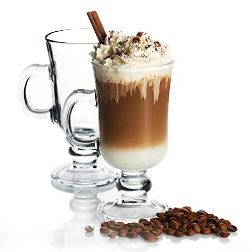 Irish Glass Coffee Mugs, Latte Cups, Set of 2 Cappuccino and Hot Chocolate Mugs with Handle, Clear Glass Mugs for Hot Beverages, 7 3/4 oz