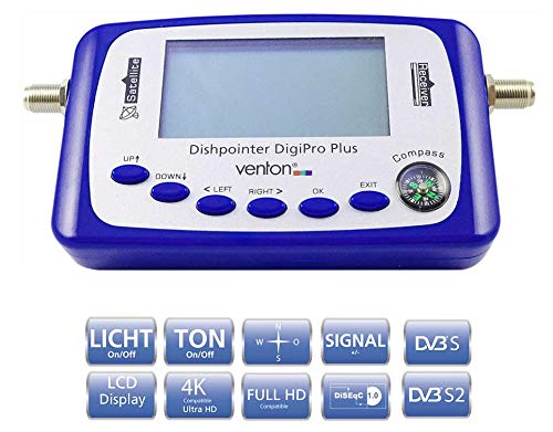 Venton Sat Finder DigiPro+ - Satfinder digital, Messgerät mit VFD Display, Satellitenfinder - Satellit Einstellgerät mit Satellitenerkennung - ausrichten Satellitenschüssel LNB Antenne komplett (blau)