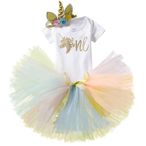 NNJXD Girl Unicorn Flowers Rainbow Tutu 1 °...