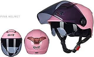 Leoie Unisex Summer Motorcycle Helmet Double Lens Sunscreen Half Helmet Pink Transparent