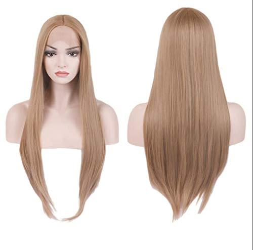 N\A Perruques Lace Frontale Wig Highlight Gold Straight Lace Front Wigs Frange Oblique Frange Cheveux Longs Perruques Droites Longues avec Frange pour