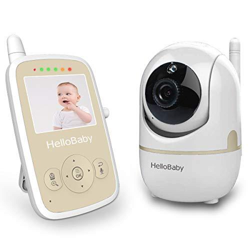 HelloBaby HB248 Video Baby Monitor con Telecamera Remota Pan-Tilt-Zoom, Schermo LCD a colori 2,4'', Visione Notturna Infrarossi, Monitoraggio Della Temperatura, Nanna, Audio Bidirezionale