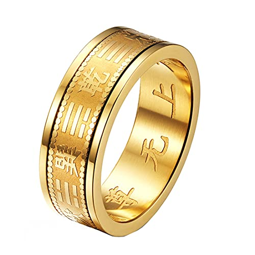 HIJONES Religioso Chino 6mm Yin Yang Bagua Mantra Grabar Hilandero Anillo para Hombre Acero Inoxidable Oro Talla 19