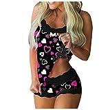 MEITING Pyjama Set Damen Nachtwäsche,Kurz Schlafanzug mit Shorts, Valentinstag Nachtwäsche Set Zweiteilige Nachthemd Sexy Kleider für Frauen Spitzen Unterwäsche Kostüm Minirock...