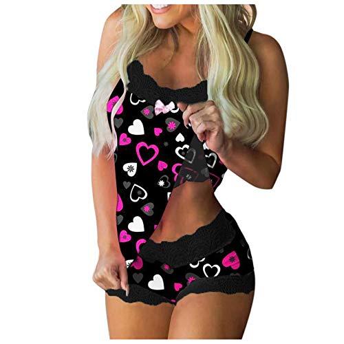 DiaRom Damen Sexy Pyjama Set Damen Nachtwäsche,Kurz Schlafanzug mit Shorts Valentinstag Nachtwäsche Set Zweiteilige Nachthemd Sexy Kleider mit Schmetterling Drucken Sexy Spitze BH und Slip Spitze
