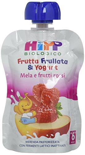 Hipp Frutta Frullata & Yogurt Mela e Frutti Rossi - Confezione da 6 succhi da 90 g l'uno