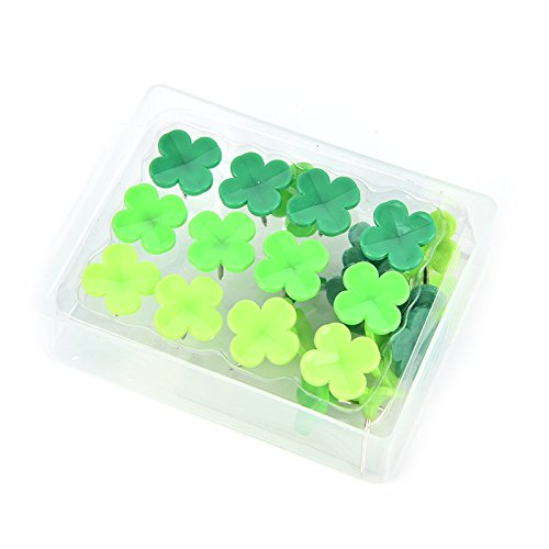 LONG7INES Set of 24 Pcs Four-leaf Clover Push Pins Thumb Tacks Drawing Pins for School, Home, Office Use, Green Photo #8