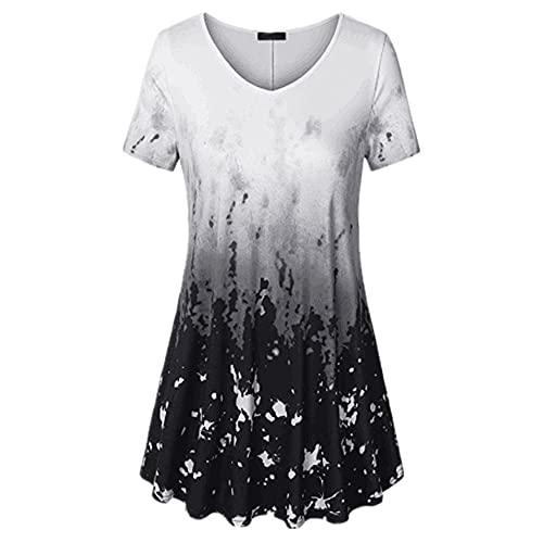 Camisa Mujer Top Mujer Cómodo Suelto Elegante Elegante Impreso con Cuello En V Manga Corta Verano Sexy Dulce Vacaciones Ocio Blusa Mujer Shirt A-Black XXL