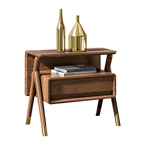 GYYY Solid Oak Bedside Table with Open Front Storage Compartment Retro Rustic Chic Wood Look Accent Furniture with Metal Copper Legs Rustic Brown - Bedside Table with 2 Drawer
