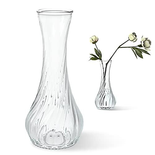 ガラスの花瓶 広口 ガラス 透明 水栽培