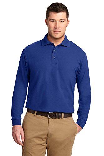 Camisa polo masculina Port Authority com toque de seda e manga comprida, Royal, XL