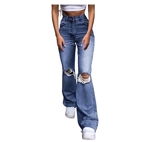 BFONE Womens Jeans High Waist Wide Leg Boyfriend Denim Pants Casual Ripped Distressed Pocket Hole Jeans Gray