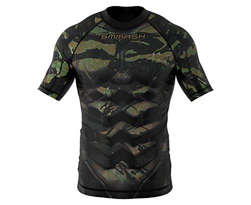 SMMASH X-WEAR Tiger Armour Rashguard Kurzarm für Herren, T-Shirt für Gym, Crossfit, MMA, Krav MAGA, Laufshirt Atmungsaktiv, Sport Funktionsshirt, Kurzarmshirt für Männer, Slim-Fit (L)