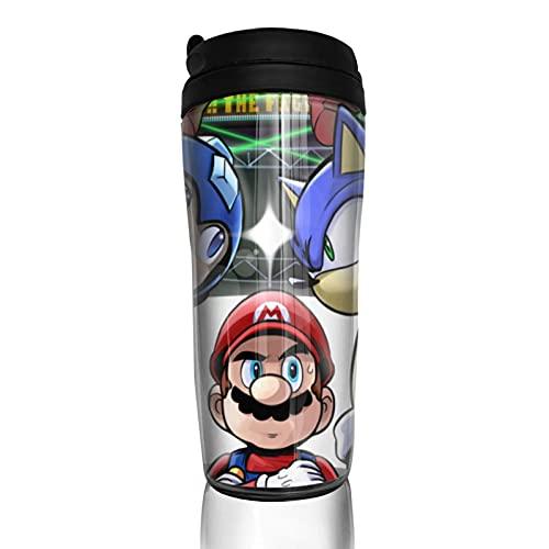 Super Smash Bros Mario Sonic Mega Man taza de café hombres mujeres aislamiento agua taza viaje oficina trabajo al aire libre novedad regalo cumpleaños 12 oz capacidad
