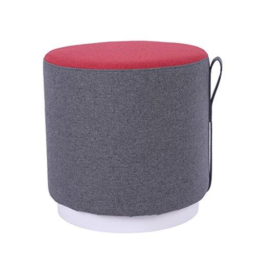 Sunon Sitzhocker rund Polsterhocker, gepolsterter Fußhocker Pouf Hocker aus Leinen 42 x 42x 42 cm, Rot