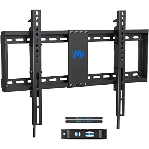 Mounting Dream TV Wall Mount TV Bracket with Leveling Design for 37-70 inch TVs, Fixed TV Mount with Max VESA 600x400mm Weight up to 132 LBS, Low Profile TV Wall Mounts Fit 16', 18', 24' Wood Studs