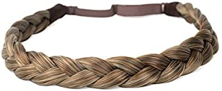 DIGUAN Synthetic Hair Braided Headband Classic Chunky Wide Plaited Braids Elastic Stretch Hairpiece Women Girl Beauty acce...