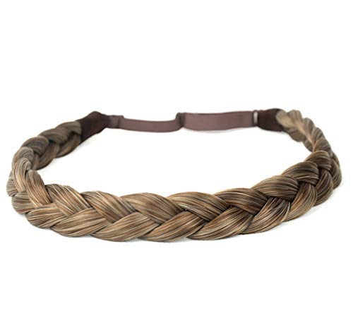 DIGUAN Synthetic Hair Braided Headband Classic Chunky Wide Plaited Braids Elastic Stretch Hairpiece Women Girl Beauty accessory, 55g aHairBeauty (#Caramel Blonde)