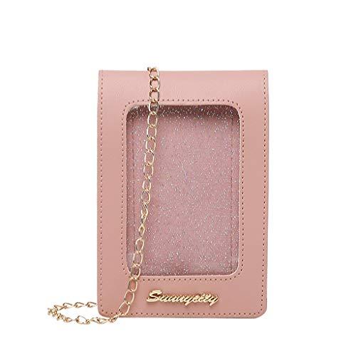 Universal Handy Umhängetasche, 2 in 1 Doppelschicht Handtasche Geldbörse Handy Tasche für Frauen Mädchen Kinder Touchscreen Funktion Leder Mobile Bag Protective Case mit Straps (Pink)