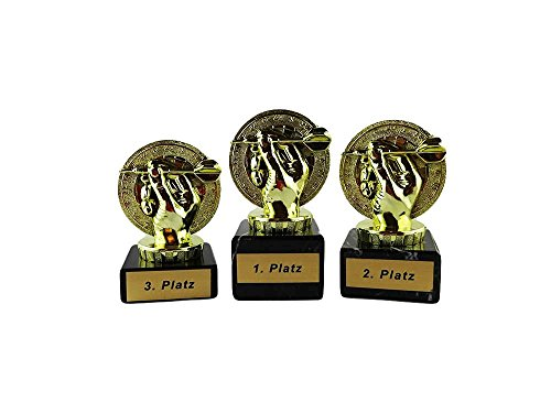 Dart-Pokale mit Gravur (1. - 3. Platz) und 3 Dart-Anstecknadeln (Sticker)