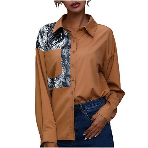 Overdose Blusa para Mujer OtoñO Primavera Nueva Mejor Venta De Moda Casual De Manga Larga Color Block Stripe Button Camisetas Tops (Large, AB-Estilo13)