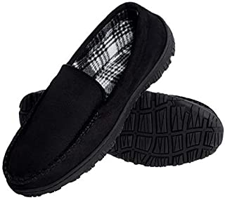 festooning Men's Micro Suede Moccasin Slippers Memory Foam House Shoes Indoor Outdoor (13 M US, Black)